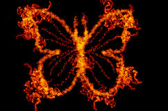 Abstract fire butterfly. Illustration isolated on black background Stock Photography