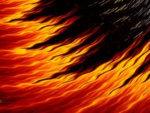 Abstract fire flames on black background. Bright fiery texture. Abstract fire flames with sparks on black background. Bright fiery texture. Fractal art Stock Photo