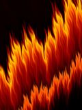 Abstract fire flames on black background. Copy space. Fractal bright fiery pattern Royalty Free Stock Photography