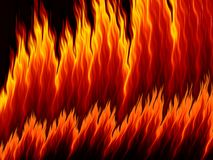 Abstract fire flames on black background. Vivid fiery pattern. Fractal art Stock Images