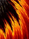 Abstract fire flames on black background. Bright fiery texture. Abstract fire flames with sparks on black background. Bright fiery texture. Fractal art Stock Images