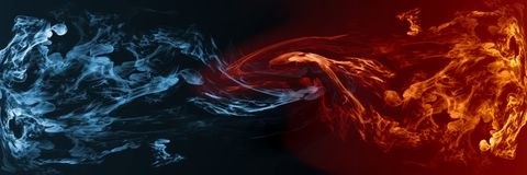 Abstract Fire and Ice element against vs each other background. For art , comparison, or contrast work vector illustration