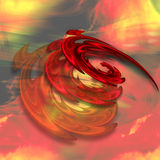 Abstract fire vortex with rotating spirals of flames. Red, yellow and black background with three layered spirals. 3d illustration Royalty Free Stock Image