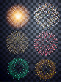 Abstract fire work set. On translate background Royalty Free Stock Image