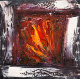 Abstract fireplace. Original abstract  oil painting showing warm and cosy fireplace with fire in cold winter night on canvas. Modern Impressionism, modernism Royalty Free Stock Photo