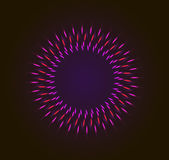 Abstract firework background. Vector background with shining lights as firework or glowing neon particlest abstract round frame with black background stock illustration