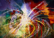 Abstract firework painting. Digital painting of colorful abstract grunge background with texture on the basis of paint Stock Image