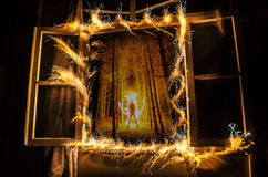 Abstract fireworks flame freezelight on window. Apartment building on Fire at Night time. Fire concept. Azerbaijan stock photos