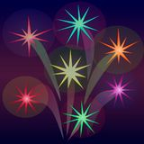 Abstract fireworks in the form of stars. Bright salutes of different colors illuminate the dark sky. An image in a vector Stock Photography