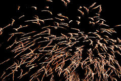 Abstract Fireworks. A long exposure shot of fireworks against a dark sky stock photography
