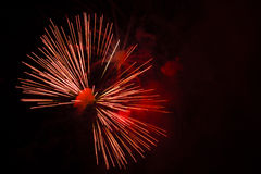 Abstract Fireworks: Red Bow-Tie in the Night Royalty Free Stock Photos
