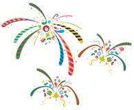 Abstract fireworks and Xmas tree. Is decorated with various materials vector illustration
