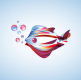 Abstract   fish. Beautiful abstract fish with bright multicolor lines Stock Image