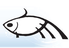 Abstract fish. Drawing on a elegant blue wave vector background Royalty Free Stock Image