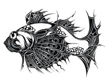 Abstract Fish background. Tattoo design. Black  fish food pisces zodiac tattoo Stock Image