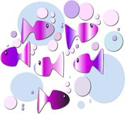 Abstract fish design. Colorful fish are making bubbles as they swim through warm waters Stock Photography