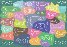 Abstract fish pattern. Abstract white lines fish silhouettes pattern Stock Images