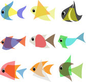 Abstract fish set. Set of nine fish logos isolated on white background. Vector illustration Stock Photo