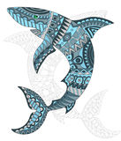Abstract fish shark, fish and painted its outline on white background , isolate Royalty Free Stock Photo