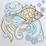 Abstract fish on splash of water Royalty Free Stock Images