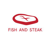 Abstract fish and steak restaurant vector design Stock Photo