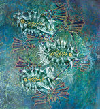 Abstract fishes on blue background Stock Image