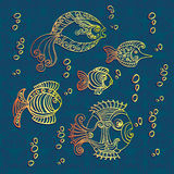 Abstract fishes in decorative style. Vector illustration Royalty Free Stock Photos