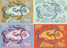 Abstract fishes in decorative style. Vector illustration Royalty Free Stock Images
