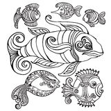 Abstract fishes in decorative style. Vector illustration Stock Photography