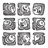 Abstract fishes in decorative style. Vector illustration Royalty Free Stock Photo