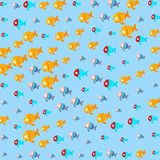 Abstract fishes in the depths of the sea. Vector illustration Royalty Free Stock Image