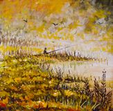 Abstract fishing oil painting. Fog on yellow lake. Orange grass, fishing in a dream. A fisherman with a long rod. Original oil painting Abstract fishing Royalty Free Stock Images