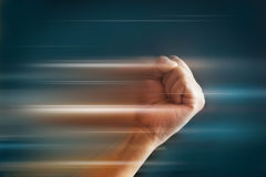 Abstract Fist punch speed on dark background, soft and blur concept Royalty Free Stock Image