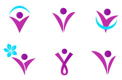 Abstract fit woman icon. Collection of six women body shapes. Vector Stock Photo