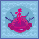 Abstract fitness girl training card. Illustration Royalty Free Stock Photo