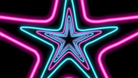 Abstract Five-Pointed Star Tunnel. An optical art 3d rendering of an abstract passageway from shining blue and rosy five-pointed stars in the black background royalty free illustration