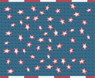 Abstract flag. Blue flag with red stars stock illustration