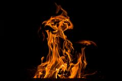 Abstract Flame. Natural element on the black background. Stock Photography
