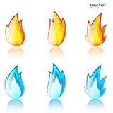 Abstract Flame Icon. Set isolated on a white background. Illustration Royalty Free Stock Photo