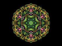 Abstract flame mandala flower in green, red and yellow colors, ornamental hexagonal pattern on black background.  vector illustration