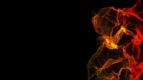 Abstract flame space on dark background. Alpha channel. Abstract plasma or fire move on right frame. Geometric background stock footage