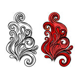 Abstract flame vector symbol in color and with black contour Royalty Free Stock Photo