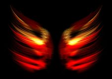 Abstract flame wings. Flame abstract symbolizing angel wings, isolated on a black background Stock Image