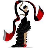 Abstract flamenco with scarf. White background and abstract image of Spanish dancer in black dress with dar red scarf vector illustration