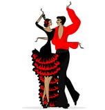 Abstract flamencopaar in zwart rood Royalty-vrije Stock Afbeeldingen