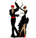 Abstract flamencopaar in zwarte Stock Afbeelding