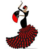 Abstract flamenro girl in black and red. White background and abstract image of Spanish dancer in red-black dress vector illustration