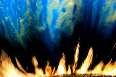 Abstract flames and water. Water and flames blue and yellow abstract Stock Image