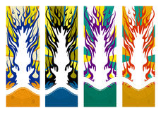 Abstract flaming templates for vertical banners. Four abstract flaming templates for vertical banners (You can place Your content inside flame Royalty Free Stock Images