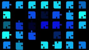 Abstract flashing puzzle pieces in blue stock video